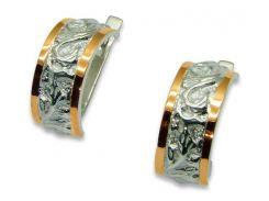 Серьги из серебра с золотыми вставками, модель 036