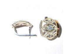 Серьги из серебра с золотыми вставками, модель 126