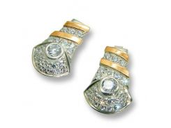 Серьги из серебра с золотыми вставками, модель 045