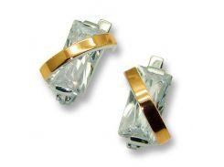 Серьги из серебра с золотыми вставками, модель 034