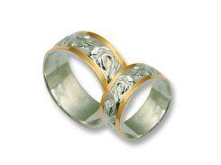 Обручальные кольца из серебра с золотыми вставками, модель 036