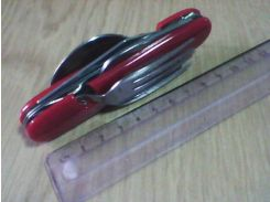 Набор складной дорожный (вилка, ложка, нож, штопор, отвертка и открывалка для стеклянных бутылок)