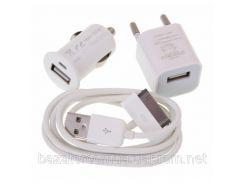 Комплект 3 в 1 АвтоЗУ + СетьЗУ + USB iPhone 3 , 4