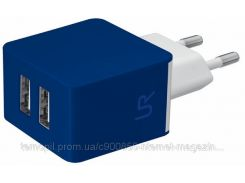 Сетевая зарядка TRUST URBAN Dual Smart Wall Charger (Синий)