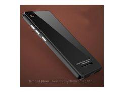 Металлический бампер Luphie с акриловой вставкой для Xiaomi Mi 4i / Mi 4c  Черный / Черный
