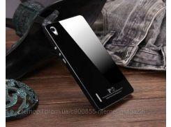 Металлический бампер Luphie с акриловой вставкой для Huawei Ascend P7 Черный / Черный