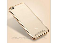 Прозрачный силиконовый чехол для Xiaomi Redmi 4a с глянцевой окантовкой            Золотой