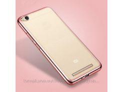 Прозрачный силиконовый чехол для Xiaomi Redmi 4a с глянцевой окантовкой            Розовый