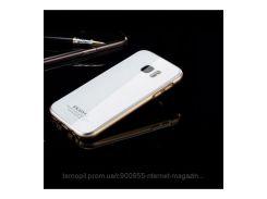 Металлический бампер Luphie с акриловой вставкой для Samsung G930F Galaxy S7 Золотой / Белый