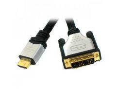 Кабель мультимедийный HDMI to DVI 18+1pin M, 1.8m Viewcon (VD 103-1,8м.)