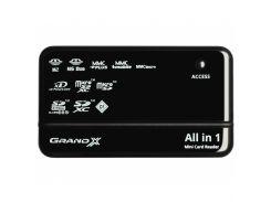 Зчитувач флеш-карт Grand-X CRX05Black зовнішній USB, чорний, M2, microSD, Mini SD, MMC, MS Duo, MS P