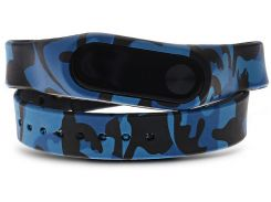 UWatch Replaceable Long Winding Circle Camouflage Style Wristband for MiBand 2 Camo Blue