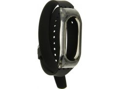 UWatch PE Bracelet Replacement Double Circle Silicone Wristband For Mi Band 2 Black