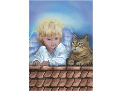 Схема для вышивки бисером Ангелочек и котенок