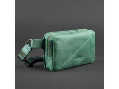 Зеленая сумка на пояс с натуральной кожи  BlankNote арт. BN-BAG-6-iz