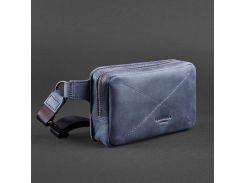 2b87ea6caaf7 Кожаная сумка на пояс темно-синего цвета BlankNote арт. BN-BAG-6