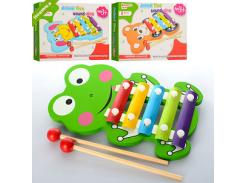 Деревянная игрушка Ксилофон E12586  металл,пластины, 5тонов,палочки 2шт, в кор-ке  19-13-2,5см FV