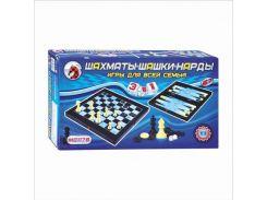 Шахматы MC 1178/8899 (36шт) 3 в 1, пластмассовые, в кор-ке, 32-18-5см NP