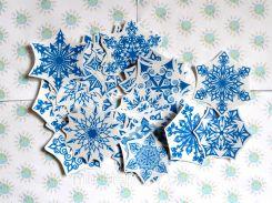 Наклейки для окон Снежинки 5х5 см, Синий