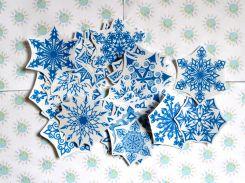 Наклейки для окон Снежинки 10х10 см, Синий