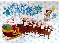 Набор наклеек для окон Дед Мороз, олени и Снежинки