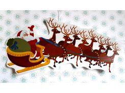 Наклейка для окон Дед Мороз и олени