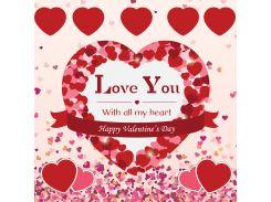 От всего сердца! Наклейка ко дню святого Валентина 10, 50х50 см