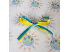 Бантик жёлто-голубой с булавкой