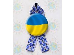 Значок Україна! Та стрічка Вишиванка 58 мм, Синий