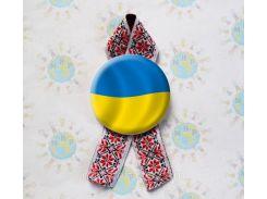 Значок Україна! Та стрічка Вишиванка 58 мм, Красный