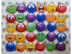 Значки Смайлики разноцветные 58 мм