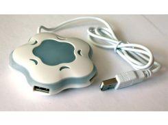 Хаб USB 2.0 Passive T-T 4xUSB 2.0, 'цветок', 7 цветов подсветки