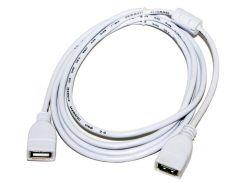 Кабель - удлинитель USB 2.0 - 1.8м AF/AF Atcom феррит фильтр белый