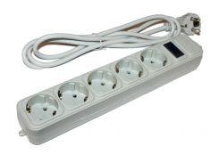 Фильтр сетевой 1.8м Merlion G518 Grey, 5 розеток, сечение 3х0,75мм, Q40