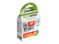 Картридж Canon PG-40, Black, iP1200/1800/2500, MP140/160/180/210/220/450/470, 25 ml, ColorWay, Ink Level