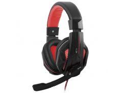 Наушники с микрофоном (игровая гарнитура) Gemix W-360 Gaming Black/Red, 2 x Mini jack (3.5 мм), накладные, регулятор громкости, кабель 2.4 м
