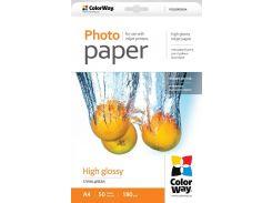 Фотобумага ColorWay глянцевая, 180 г/м2, A4, 50 л (PG180050A4)