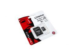 Карта памяти microSDHC, 32Gb, Class10 UHS-I, Kingston, SD адаптер (SDC10G2/32GB)