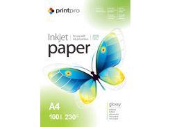 Фотобумага PrintPro глянцевая, A4, 230 г/м, 100 шт (PGE230100A4)