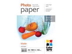 Фотобумага ColorWay матовая, 135 г/м2, А4, 100 л (PM135100A4)