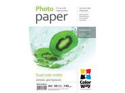 Фотобумага ColorWay матовая, двухсторонняя, 140 г/м2, A4, 50 л (PMD140050A4)