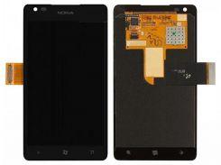 Дисплей (экран) + сенсор (тач скрин) Nokia Lumia 900 с рамкой black (оригинал)