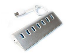 Хаб USB 3.0, 7 портов, White, алюминиевый , 20 см, заряд до 900mAh, поддержка до 2TB