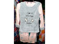 Пижама теплая Турция флис и мех размер L отличное качество