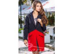 Экокашемировое двухцветное пальто-оверсайз с карманами-клапанами