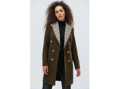 Шикарное удлиненное пальто свободного кроя.  Хаки