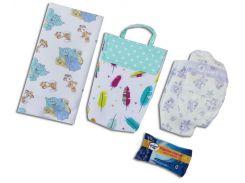 Кармашек для памперсов и влажных салфеток в детскую сумку Organize  перышки