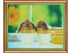 Набор для вышивки бисером на холсте «Кролики-1»