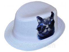 Шляпа детская челентанка фотопринт кот в очках