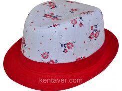 Шляпа детская челентанка комби красная ветка